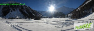 Snowy Location in early autumn, snow in the valley, possibility to build a kicker for skier and snowboarders